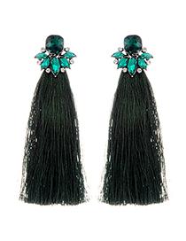 Bohemia Dark Green Square Shape Diamond Tassel Earrings