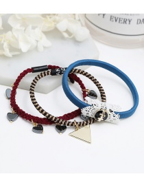 Fashion Red+blue Heart Shape Decorated Hair Band ( 3 Pcs)