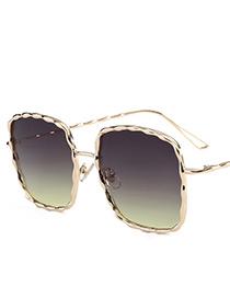 Fashion Champagne Square Shape Decorated Sunglasses