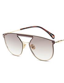 Fashion Champagne Pure Color Decorated Sunglasses