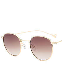 Vintage Champagne Color-matching Decorated Round Shape Sunglasses
