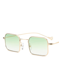 Fashion Green Square Shape Decorated Sunglasses