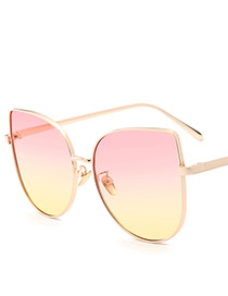 Fashion Pink Oval Shape Decorated Sunglasses