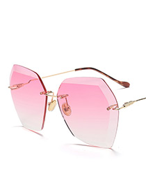 Vintage Pink Diamond Shape Decorated Sunglasses