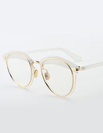 Vintage White Color-matching Decorated Sunglasses