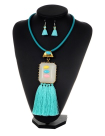Exaggearte Blue Square Shape Decorated Tassel Jewelry Sets