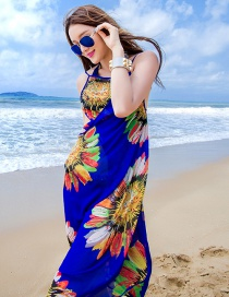 Fashion Sapphire Blue Flower Pattern Decorated Dress