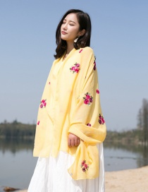 Fashion Yellow Flower Pattern Decorated Scarf