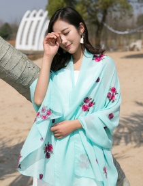 Fashion Aqua Green Flower Pattern Decorated Scarf