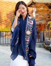 Fashion Navy Embroidery Flower Decorated Scarf