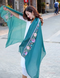 Fashion Dark Green Embroidery Flower Decorated Scarf
