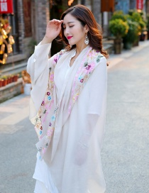 Fashion Beige Embroidery Flower Decorated Scarf