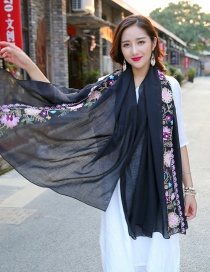 Fashion Black Embroidery Flower Decorated Scarf