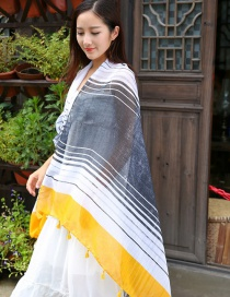 Fashion White+yellow Stripe Pattern Decorated Scarf