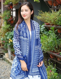 Fashion Dark Blue Flower Pattern Decorated Scarf
