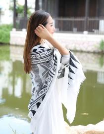 Fashion White+black Geometry Decorated Scarf
