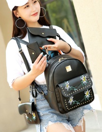 Fashion Black Rivet Decorated Flower Pattern Backpack (4 Pcs )