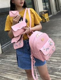 Fashion Pink Rivet Decorated Flower Pattern Backpack (4 Pcs )