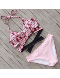 Sexy Pink Flower Pattern Decorated Bikini