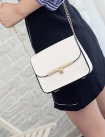 Fashion White Buckle Decorated Shoulder Bag