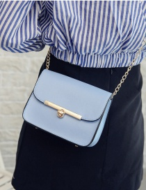 Fashion Blue Buckle Decorated Shoulder Bag