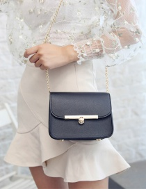 Fashion Black Buckle Decorated Shoulder Bag