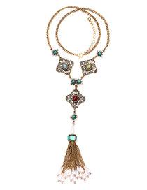 Fashion Gold Color Tassel Decorated Necklace