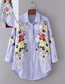 Fashion Blue+white Flower&butterfly Pattern Decorated Shirt