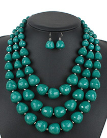 Bohemia Green Beads Decorated Pure Color Jewelry Sets
