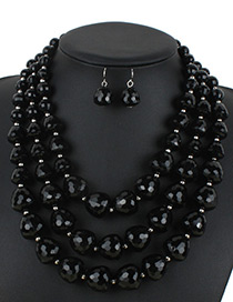 Bohemia Black Beads Decorated Pure Color Jewelry Sets