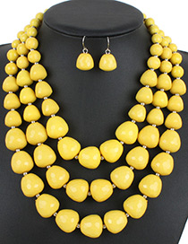 Bohemia Yellow Beads Decorated Pure Color Jewelry Sets