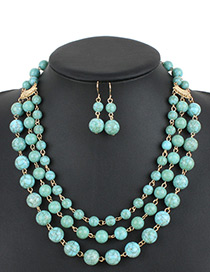 Bohemia Green Pure Color Decorated Multi-layer Jewelry Sets