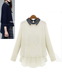 Fashion White Flower Decorated Long Sleeves Patchwork Blouse