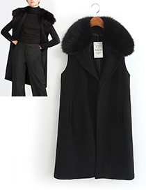 Fashion Black Pure Color Decorated Wool Collar Vest