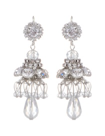 Fashion Silver Color Diamond Decorated Earrings