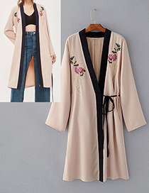 Fashion Light Khaki Embroidery Flower Decorated Long Sleeves Coat