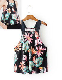 Fashion Black Lotus Leaf&bird Decorated Simple Vest