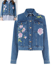 Fashion Blue Embroidery Flower Decorated Long Sleeves Coat