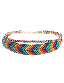 Fashion Multi-color Color Matching Decorated Double Layer Choker