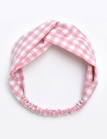 Fashion Pink Grid Pattern Decorated Hair Hoop