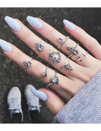 Fashion Silver Color Flower Pattern Decorated Simple Ring Sets(9pcs)