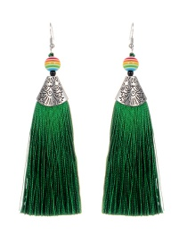 Fashion Green Ball&tassel Decorated Long Earrings