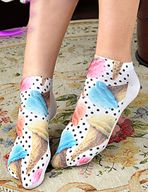 Lovely White Ice Cream Pattern Decorated Ankle Sock