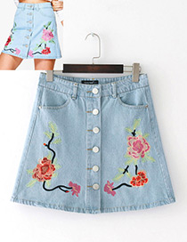 Fashion Blue Flower Decorated Simple Jeans Skirt
