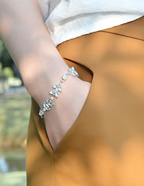Fashion Silver Color Full Diamond Decorated Leaf Shape Bracelet