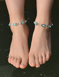 Fashion Silver Color+green Oval Shape Diamond Decorated Simple Anklet (1pc)
