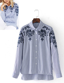 Fashion Blue Embroidery Flower Pattern Decorated Long Sleeves Shirt