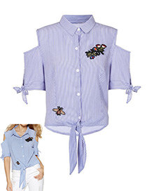 Fashion Blue Embroidery Bee&flower Decorated Strapless Shirt
