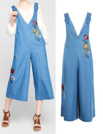 Fashion Blue Embroidered Flower Decorated Wide Leg Rompers
