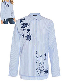 Fashion Blue+white Embroidery Flower Decorated Long Sleeves Shirt